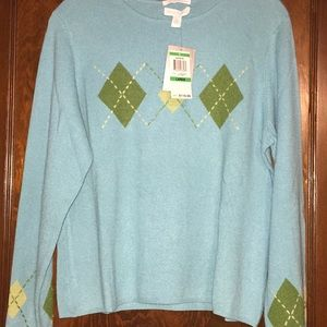 Charter Club cashmere sweater with argyle design